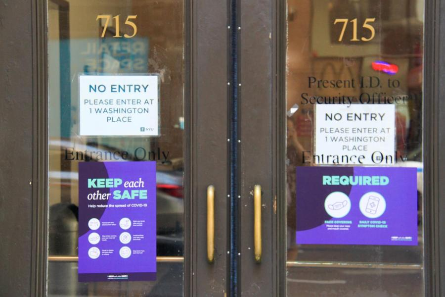 NYU buildings set new safety regulations for entering into the buildings in preparation for some students returning to campus. NYU students were faced with the choice of whether to stay home or go back to campus for the fall 2020 semester.  (Staff Photo by Alexandra Chan)