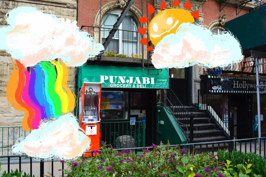 Punjabi Deli is nestled beneath a flower-lined sidewalk, with a brightly colored ATM marking its entrance on Sept. 18, 2020. (Staff photo by Manasa Gudavalli)