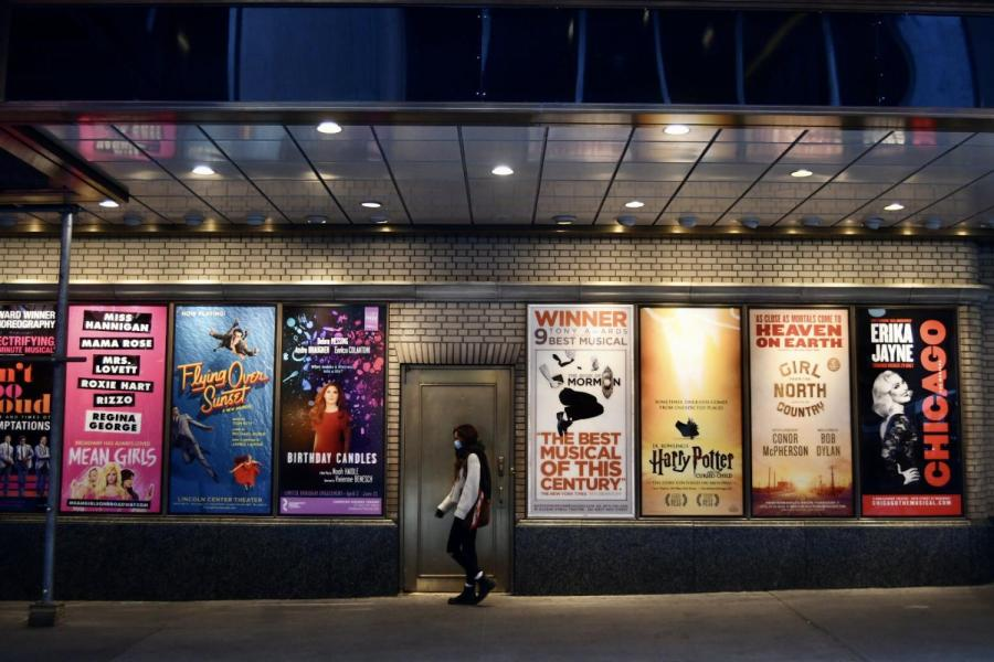 The Ambassador Theater is located at 219 W. 49th St. Starting April 2, 2021, entertainment and arts venues that hold less than 10,000 people will open at 33% capacity, allowing select Broadway theaters to open their doors next month. (Photo by Sheridan Smith)