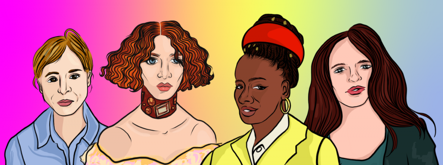 March is Women's History Month, and WSN's Arts desk is highlighting inspiring women artists. Amanda Gorman, Janis Joplin, Kelly Reichardt, and SOPHIE are women artists that create, experiment, and innovate inspiring work in their respective fields. (Staff Illustration by Susan Behrends Valenzuela)