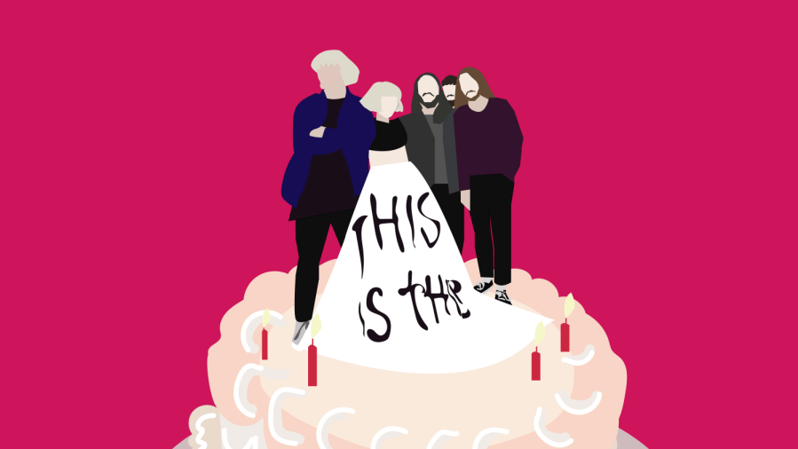 """Alternative rock quintet, Grouplove, announced the release of their fifth studio album, """"This is This."""" Made over quarantine, New York/California rockers deliver an album of nostalgia inspired pop rock hits. (Staff Illustration by Susan Behrends Valenzuela)"""