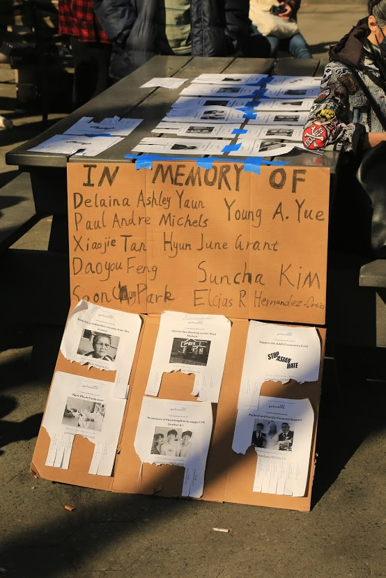 A sign is set up honoring the victims from recent anti-Asian hate crimes. (Photo by Suhail Gharaibeh)