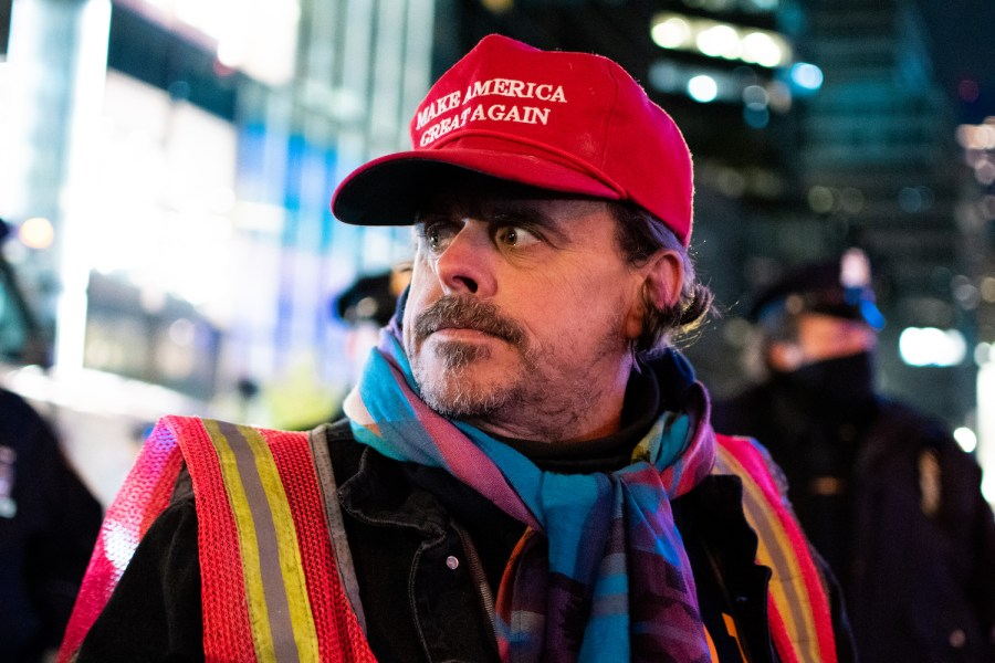 A Trump supporter wears a MAGA hat at a midtown rally during the 2020 election. Trumpism has taken over the Republican Party. (Staff Photo by Jake Capriotti)