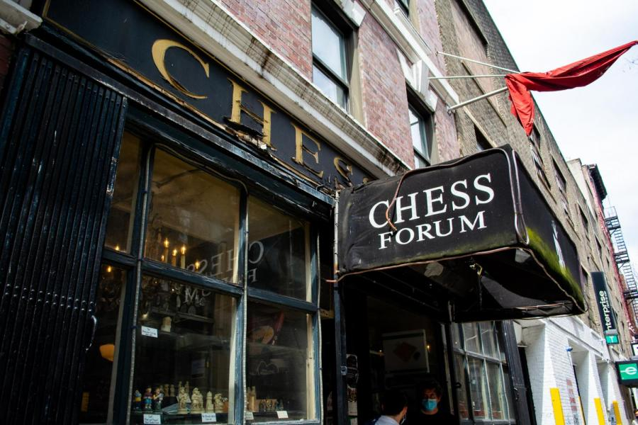 The storefront of Chess Forum in Greenwich Village is located on Thompson between Bleecker and West Third. (Staff Photo by Manasa Gudavalli)