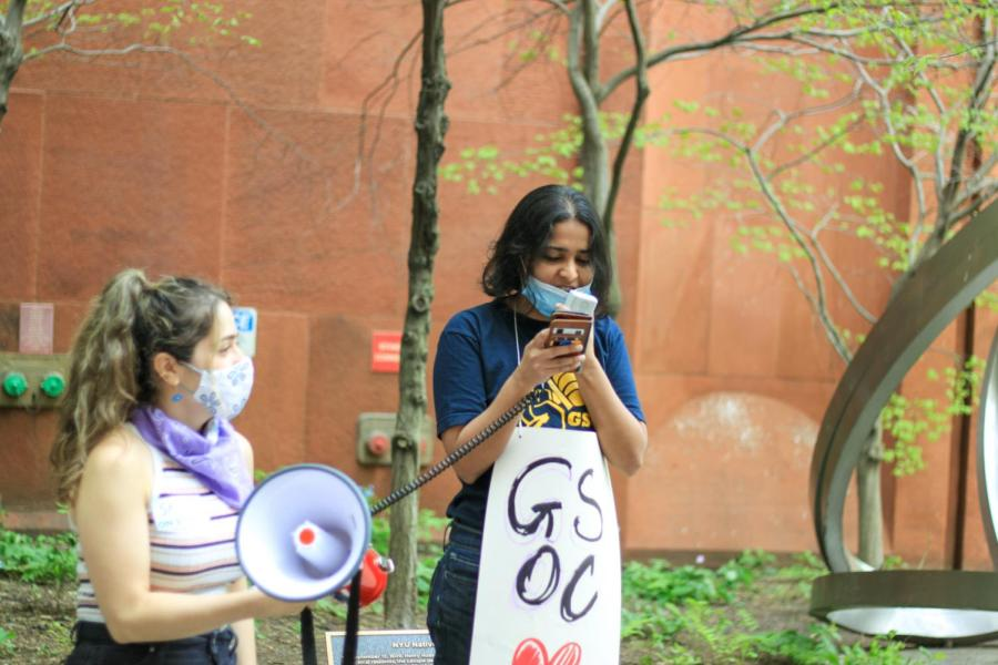 Bhumika speaks to the crowd.