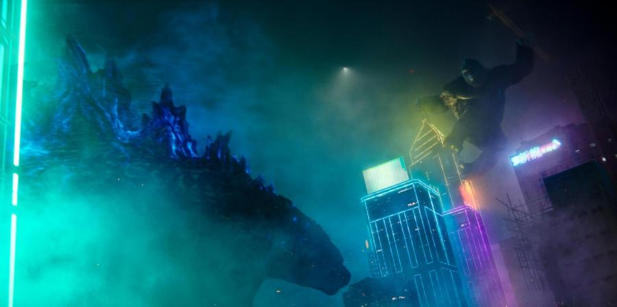 """GODZILLA and KONG in Warner Bros. Pictures' and Legendary Pictures' action adventure """"GODZILLA VS. KONG,"""" a Warner Bros. Pictures and Legendary Pictures release. (Image Courtesy of Warner Bros. Pictures and Legendary Pictures)"""