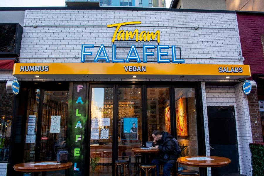 Tamam Falafel, located near Union Square, is a fast-casual Middle Eastern vegan eatery. They offer plant-based options such as hummus bowls and falafel sandwiches. (Staff Photo by Manasa Gudavalli)