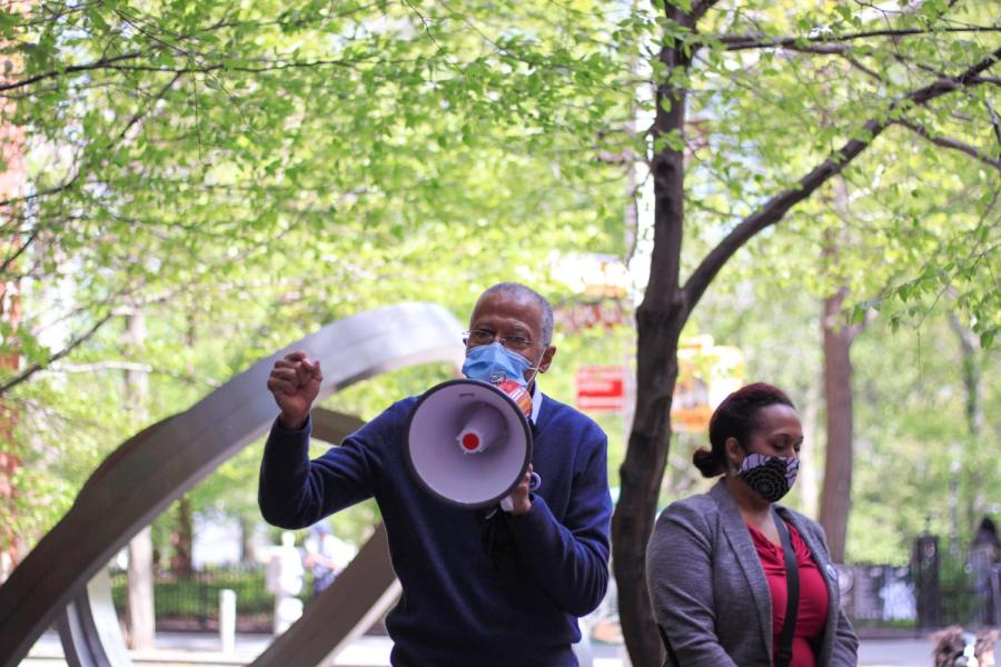 A local representative speaks in solidarity with GSOC