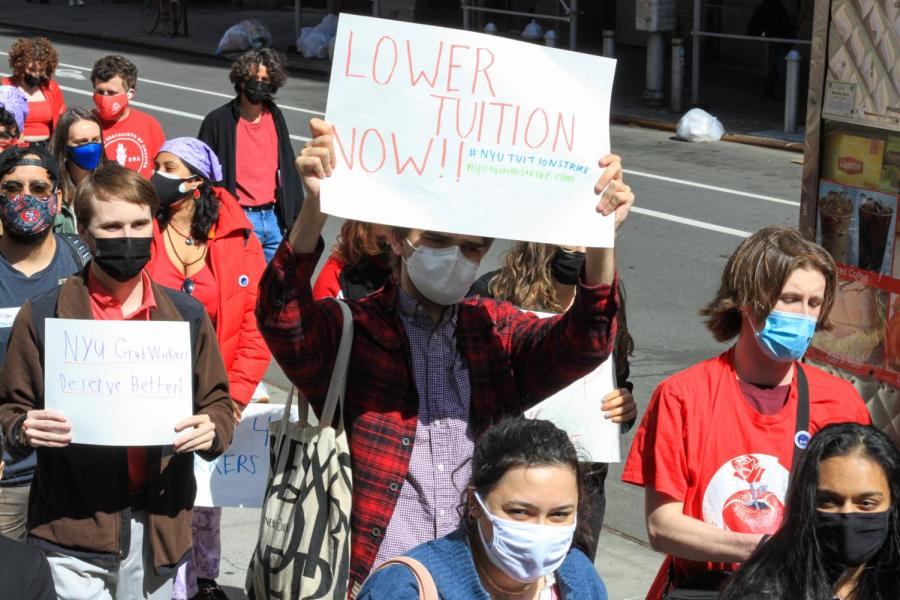 NYU's Young Democratic Socialists of America group announced a tuition strike on April 30. The strike calls on students to withhold their tuition payment for the Fall 2021 semester as a way to leverage the university to comply with a list of their demands. (Staff Photo by Alexandra Chan)