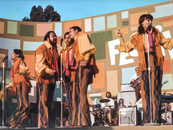 The 5th Dimension performs at the Harlem Cultural Festival in 1969. In his directorial debut, Questlove's Summer of Soul creates a time capsule of the essential music of Black America. (Photo courtesy of Searchlight Pictures)