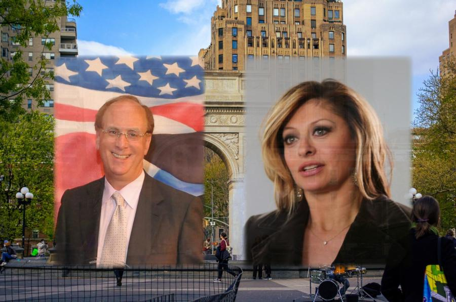 NYU's board of trustees includes an election conspiracist and a CEO who profits from immigrant detention. These people, among others on the board, contradict NYU's self-proclaimed diversity and progressivism. (Images via Wikimedia Commons, Staff Photo and Illustration by Manasa Gudavalli)