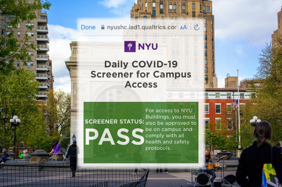 The Daily Screener is a form developed by NYU to track the vaccination status of students and staff. However, given the information-carrying capacity of NYU ID cards, the Screener appears redundant and wastes people's time. (Staff Illustration by Manasa Gudavalli)