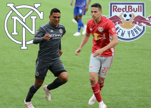 Tony Rocha is a midfielder with the New York City Football Club and Sean Davis is a midfielder with the New York Red Bulls. While seemingly different, there are many common parallels between the rivaling teams. (Images via Wikimedia Commons,  Staff Illustration by Ryan Kawahara)
