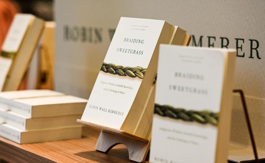 Braiding Sweetgrass by Robin Wall Kimmerer was chosen as this years NYU Reads selection. Members of the Native American and Indigenous Students Group at NYU have said that the university has failed to include them in the conversation about the reading. (Staff Photo by Sirui Wu)