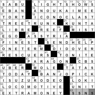 0101-11: New York Times Crossword Answers 1 Jan 11