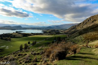 Looking back at Wanaka and its namesake lake from the beginning of the Roys Peak Track hike