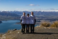 """All three of us wore our """"Zeeland"""" t-shirts to represent the three Zeelands in our life. Our father is from the province of Zeeland, in the Netherlands. And of course, New Zealand is named after that province, with a slight anglicization with the """"a"""" instead of double-e. Finally, there is the town of Zeeland in West Michigan, where my brother works and to represent home in some way. """"Ik bin glad weg van Zeeland"""" means, roughly translated, """"I'm totally in awe of Zeeland"""" and """"I am away from Zeeland"""" (trust me, it's a pun that works better in Zeeuwse Dutch). We were also all wearing thermal socks from our Opa who passed away this past June, to represent him in spirit. ... We met a nice couple named Mattie and Christine. Mattie was originally from South Africa, Christine from Canada. Mattie kindly snapped this photo for us to commemorate our hike and these things that are special to us."""