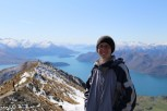 Jessica at the top of the Roys Peak Track in Wanaka