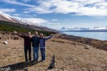Standing next to a cairn and enjoying our first views of Mt Cook along Lake Pukaki!