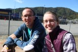 Philip and Jessica enjoy our complimentary coffee and tree at the Interislander ferry terminal in Picton, while waiting to board the ferry with our campervan.