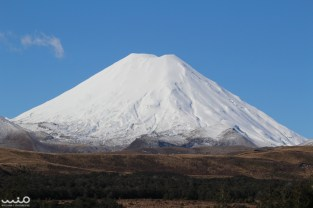 The volcano was still completely capped in snow, making it very bright to look at. Mt Ngauruhoe is the youngest of the volcanoes in Tongariro National Park and the most conical.
