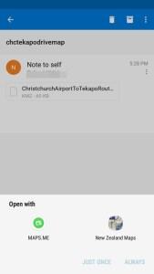 グーグルマイマップメイル添付送付