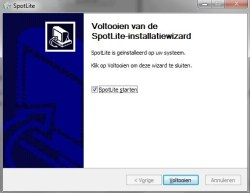 SpotLite installatie Spotelite starten