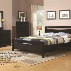 RUSELL black wood bedroom set (5 pcs) on SALE