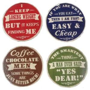 PLQ916 RESIN CHEEKY BOTTLE CAP COASTERS SET/4