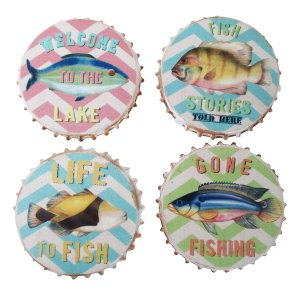 PLQ956 RESIN FISHY COASTERS - SET OF 4