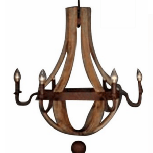 RUSTIC WOOD & IRON CHANDELIER