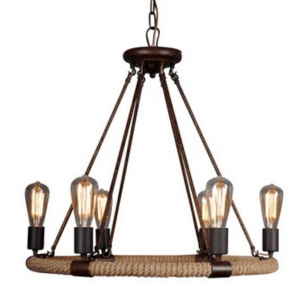 RL4008 ROPE & STEEL CHANDELIER WITH EDISON BULBS