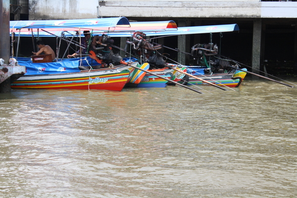 colourful rainbow boats bangkok