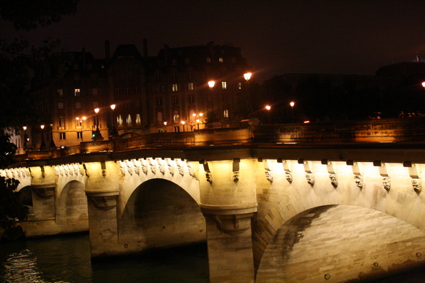 Paris bridge at night