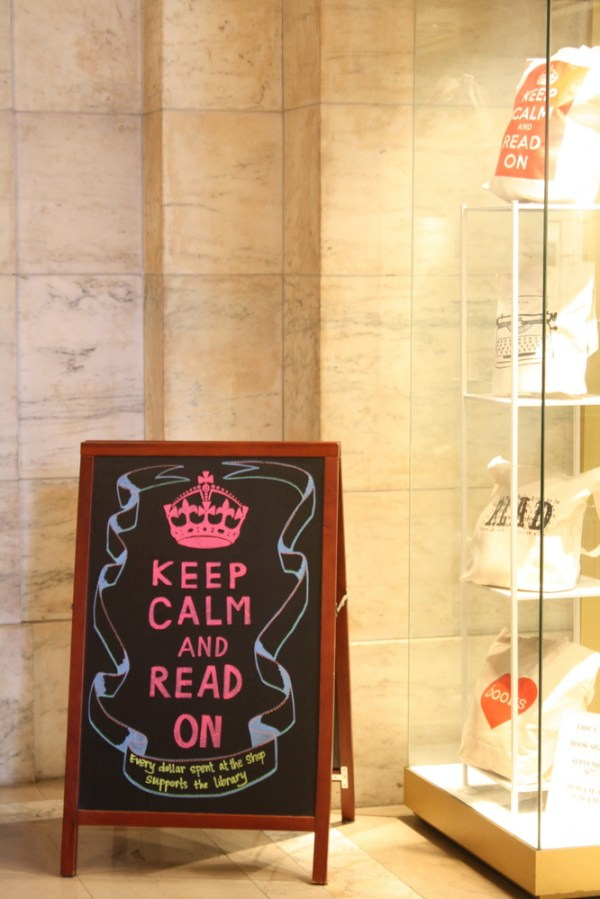 keep calm and read on new york public library