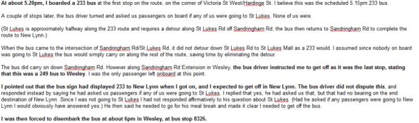 Auckland Transport - Bus driver complaint