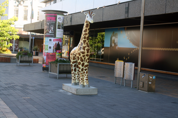 Christchurch colourful giraffe art