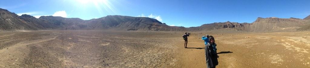 Tongariro Crossing - flat valley looks like Mars