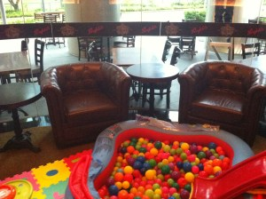 Ball pool and leather arm chairs