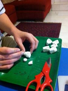 Making the marshmallow skulls