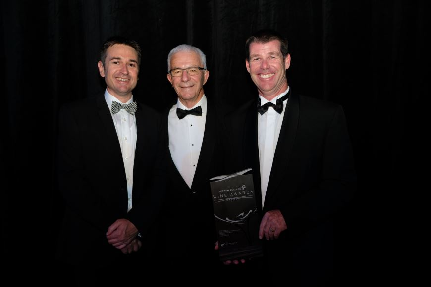 Photo L-R: Nick Picone - Chief Group Winemaker, Sir George Fistonich - Owner and founder, Jonathan Hamlet - Hawkes Bay Regional Viticulturist accepting the Trophy on Saturday night.