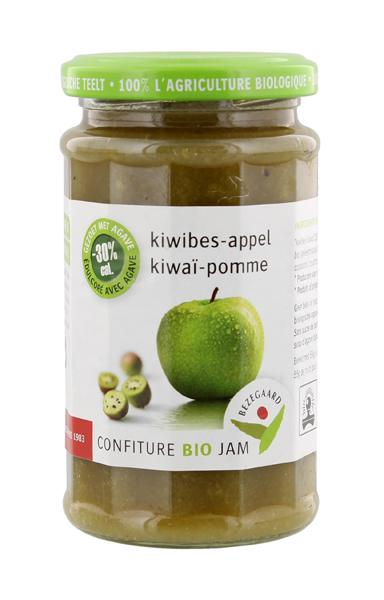 Bezegaard biologische kiwibes-appeljam, zonder suiker, gezoet met agave. Bio confituur.