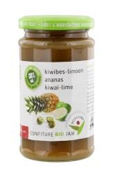 Bezegaard biologische kiwibes-ananas-limoen jam, zonder suiker, gezoet met agave. Bio confituur.