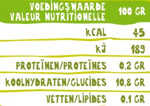 Voedingswaardetabel O'Bio fruitsap appel-peer