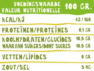 Voedingswaardetabel biologisch appelsap O'Bio