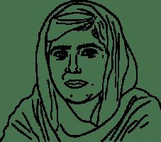 Illustrerad bild på Malala.
