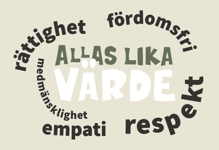 Textillustration där det står flera ord och meningar inom temat: Allas lika värde, rättighet, fördomsfri, medmänsklighet, empati, respekt