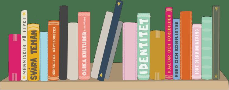 Illustrerad bild av olika bokryggar med olika teman.