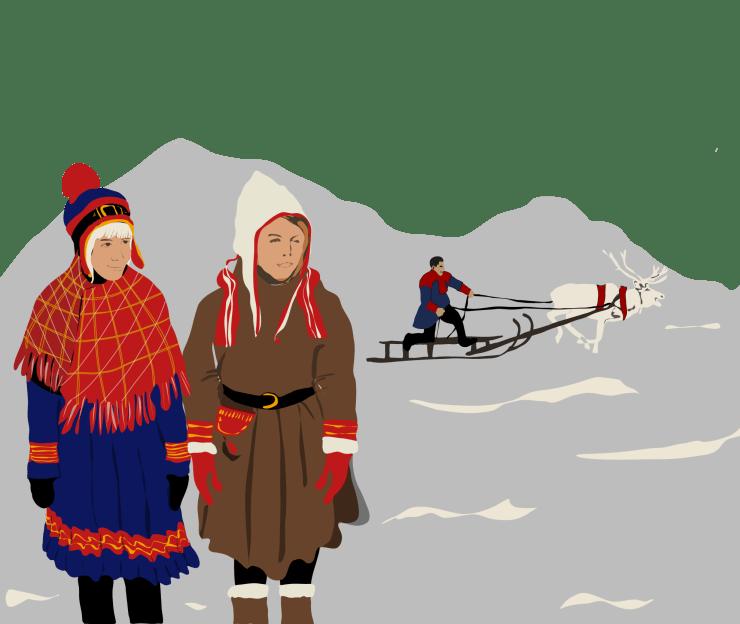 Bild på två kvinnliga samer i förgrunden och en manlig same med ren och släde.