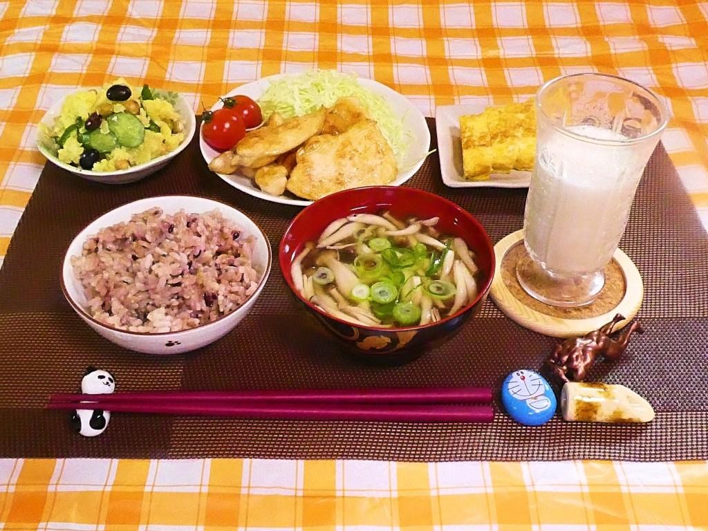 今日の朝ごはん 鶏胸肉の生姜焼き 20/02/08